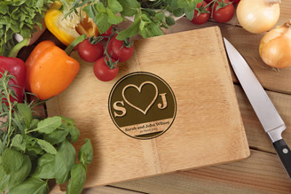 Personalised Chopping Board Premium - Couples - Heart