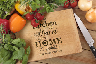 Personalised Chopping Board Premium - Kitchen Heart - Your Message