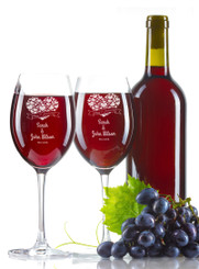 Personalised Wine Glass - Double set - Anniversary.