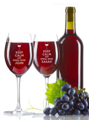 Personalised Wine Glass - Double set - Keep calm.