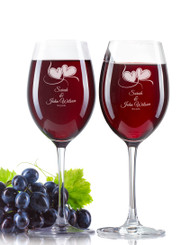 Personalised Wine Glass - Double set - Two Hearts.
