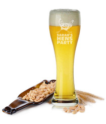 Personalised Beer Glass - Hen's Party.