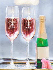 Personalised Champagne Glass - Double set - Love Birds.