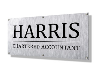 Business sign 30x60cm - Metallic look