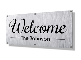 Business sign 30x60cm - Metallic lines