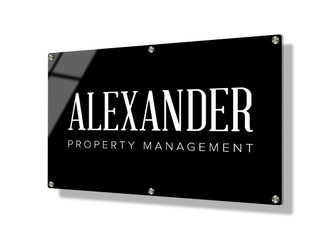 Business sign 50x75cm - Classic white on black