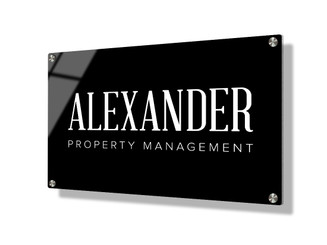 Business sign 20x30cm - Classic white on black