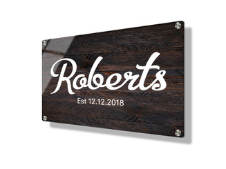 Business sign 15x20cm - Dark wood