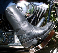Black Hornback Crocodile Motorcycle Boots