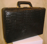 Black Hornback Crocodile Briefcase