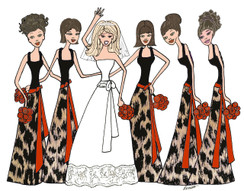 Bride with 5 Bridesmaids in Animal Print cards