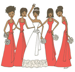 Bride with 4 Bridesmaids in coral cards