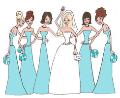 Bride with 5 Bridesmaids in tiffany blue cards
