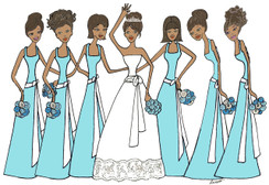 Bride with 6 Bridesmaids in tiffany blue cards