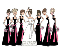 Bride with 6 Bridesmaids in black/hot pink cards
