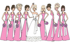 Bride with 8 Bridesmaids in bright pink cards