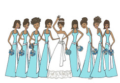 Bride with 8 Bridesmaids in tiffany blue cards