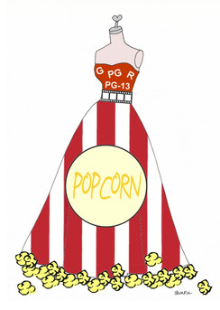 Movie and Popcorn dress cards