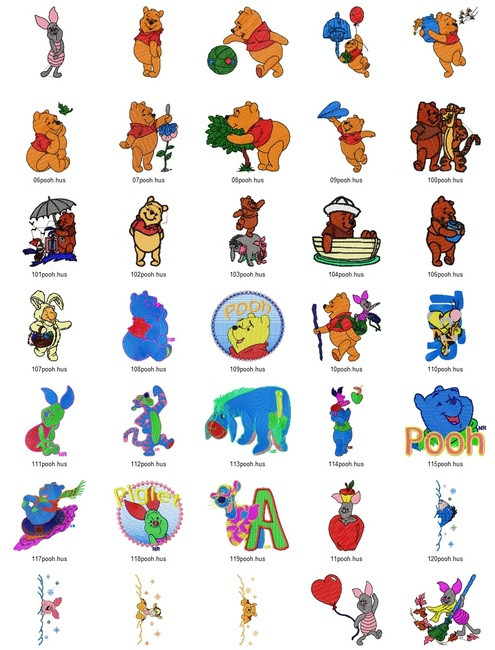 Winnie The Pooh Hand Embroidery Designs