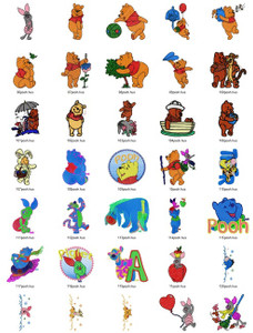 Set of 100 DISNEY WINNIE THE POOH & FRIENDS MACHINE EMBROIDERY DESIGNS
