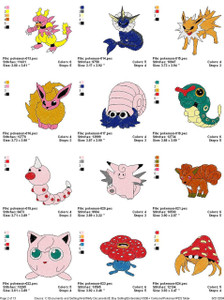 145 POKEMON EMBROIDERY DESIGNS PATTERNS INSTANT DOWNLOAD