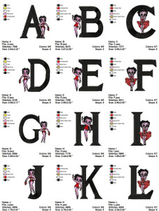 BETTYBOOP ALPHABETS CARTOON  EMBROIDERY DESIGNS INSTANT DOWNLOAD ADORABLE COLLECTION
