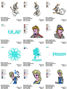 15 FROZEN DISNEY 4X4 EMBROIDERY DESIGNS INSTANT DOWNLOAD BIG COLLECTION