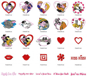 DISNEY HUGS AND KISSES EMBROIDERY DESIGNS INSTANT DOWNLOAD AMAZING COLLECTION