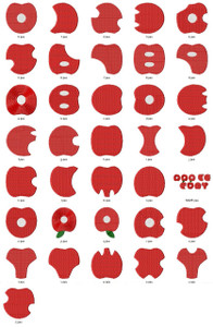 RED APPLE  ALPHABETS A-Z NUMBERS 0-9 EMBROIDERY DESIGNS INSTANT DOWNLOAD CUTE COLLECTION