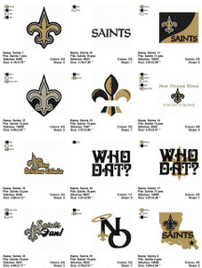 New Orleans Saints American football team  EMBROIDERY DESIGNS INSTANT DOWNLOAD BEST COLLECTION