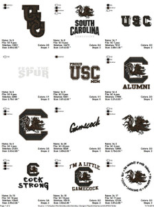University of South Carolina Gamecock EMBROIDERY DESIGNS INSTANT DOWNLOAD BEST COLLECTION