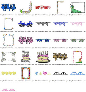 BABY CUTE BORDERS AND FRAMES EMBROIDERY DESIGNS INSTANT DOWNLOAD BEST COLLECTION