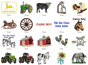 FARM COUNTRY TRACTORY COW COLLECTION  EMBROIDERY DESIGNS INSTANT DOWNLOAD BEST COLLECTION
