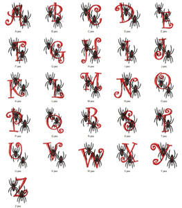 SPIDER ALPHABETS A-Z  EMBROIDERY DESIGNS INSTANT DOWNLOAD BEST COLLECTION