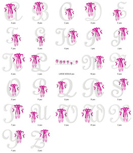 BALLET SLIPPERS ALPHABETS FONT  EMBROIDERY DESIGNS INSTANT DOWNLOAD HUGE  COLLECTION