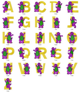 BARNEY CARTOON CHARACTER ALPHABETS FONT   EMBROIDERY DESIGNS INSTANT DOWNLOAD HUGE  COLLECTION