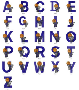 BASKETBALL SPORTS ALPHABETS FONT  EMBROIDERY DESIGNS INSTANT DOWNLOAD HUGE  COLLECTION