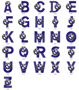 BMW CAR AUTO LOGO ALPHABETS FONT  EMBROIDERY DESIGNS INSTANT DOWNLOAD HUGE  COLLECTION