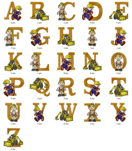 BOB THE BUILDER CARTOON CHARACTER ALPHABETS FONT  EMBROIDERY DESIGNS INSTANT DOWNLOAD HUGE  COLLECTION