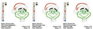 GRINCH EMBROIDERY DESIGNS INSTANT DIGITAL DOWNLOAD 3 SIZES