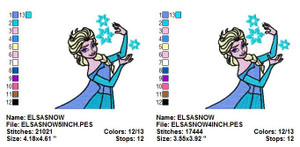 Queen Elsa Snowflake EMBROIDERY DESIGNS INSTANT DIGITAL DOWNLOAD 2 SIZES