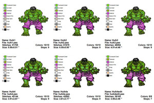 HULK SUPER HERO EMBROIDERY DESIGNS INSTANT DIGITAL DOWNLOAD 6 SIZES