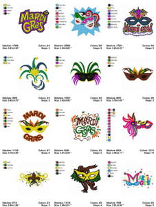 Mardi Gras  SET OF 20 EMBROIDERY DESIGNS INSTANT DIGITAL DOWNLOAD