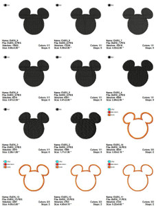 MICKEY MOUSE DISNEY FACE FILL & APPLIQUE EMBROIDERY DESIGNS INSTANT DIGITAL DOWNLOAD