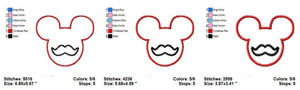 MICKEY MOUSE MUSTACHE DISNEY EMBROIDERY DESIGNS INSTANT DIGITAL DOWNLOAD