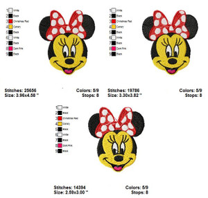 MINNIE MOUSE FACE FILL EMBROIDERY DESIGNS INSTANT DIGITAL DOWNLOAD 3 SIZES