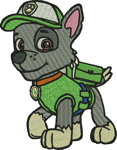 Rocky Paw Patrol Embroidery Designs Cartoon Character