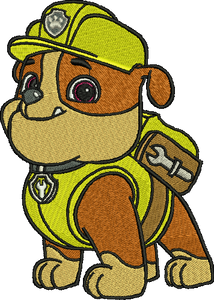 Rubble Paw Patrol Embroidery Designs Cartoon Character Instant Download