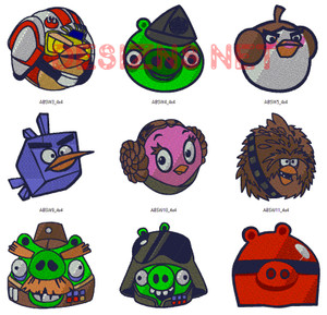 24 Angry Birds Star Wars 4x4 Embroidery Machine Designs Instant Download Mega Set