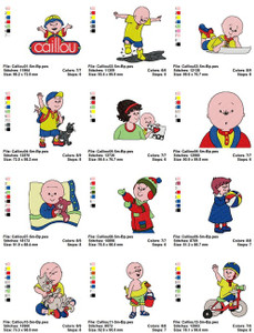 Caillou CARTOON CHARACTERS EMBROIDERY DESIGNS